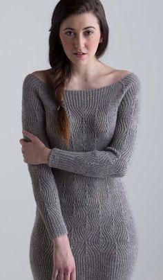"""Knitting pattern for Diamond Rib Dress - Increases and decreases force single ribbing into textured diamonds, creating a slinky, elastic fabric that hugs and skims curves in Laura Zukaite's dress or tunic. 26 3/4 (32, 37 1/4)"""" bust circumference."""