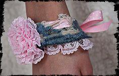 Denim cuff  lace ribbon flower shabby cuff / bracelet by kellyjoe, $7.50