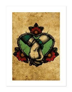 Sempre dopo, tenendo le mani, Neo-tradizionale tatuaggio Flash, vecchia scuola, arte stampa 12x16