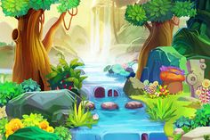 Creative Illustration And Innovative Art: Going Upstream. Stock Illustration - Illustration of brook, creative: 72591800 Cartoon Background, Art Background, Facebook Cover Images, Room Wall Painting, Creative Illustration, Cartoon Styles, Fantasy Art, Backdrops, Scene