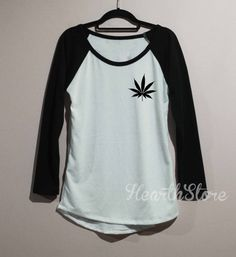 Weed Shirt Cannabis Leaf Marijuanna Baseball Raglan por HearthStore