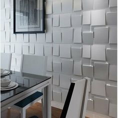 Fasade Dome x PVC Wall Paneling in Brushed Aluminum Vinyl Wall, Vinyl Wall Panels, Embossed Wallpaper, Wallpaper Panels, Dining Room Paint Colors, Bamboo Wall, Metal Wall Panel, Luxury Vinyl Plank, Wall Paneling