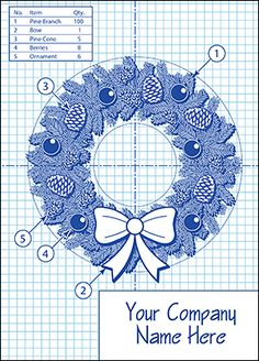 Let your clients know they can rely on you to pay attention to the smallest details by sending them the Wreath Blueprint Christmas Card.