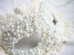 Masquerade Ball Mask in Papier-Mâché, Faux Pearls, and Antique Lace