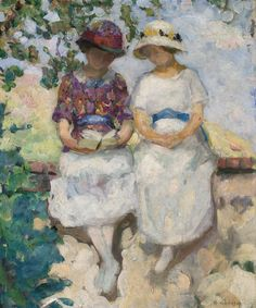 Vézillon, two girls sitting on a wall (1913).Henri Lebasque (French, Post-Impressionism, 1865-1937). Oil on canvas.