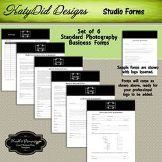 INSTANT DOWNLOAD Classic Black Photography Business Forms Invoice/Order form, Model and Minor Model Release, Copywrite, Print Authorization. $14.00, via Etsy.