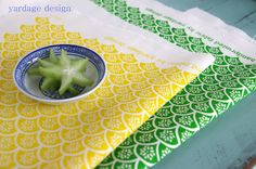 """""""Fan"""" :: sunny yellow and pea green  yardage design ~ hand printed fabric and homewares"""
