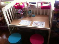 Upcycle used baby crib into a desk {featured on Home Storage Solutions 101}