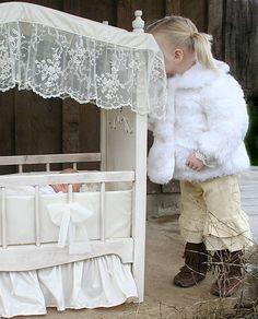 Doll crib Baby Doll Nursery, Baby Dolls, Crib Makeover, Pretend Play, Ladder Decor, Cribs, Little Girls, Kids Room, New Homes