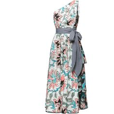 Antonio Marras     Floral Print One Shoulder Midi Dress ($1,960) ❤ liked on Polyvore featuring dresses, white, one sleeve dress, floral midi dress, one shoulder dress, midi dress and white a line dress