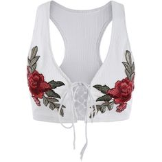 Lace Up Embroidered Knitted Cropped Tank Top White (€17) ❤ liked on Polyvore featuring tops, crop tops, shirts, white tank, laced up shirt, white crop tank top, white embroidered shirt and lace up shirt