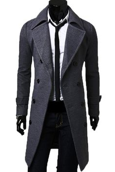 Lende Men's Trench Coat Winter Long Jacket Double Breasted Overcoat at Amazon Men's Clothing store: