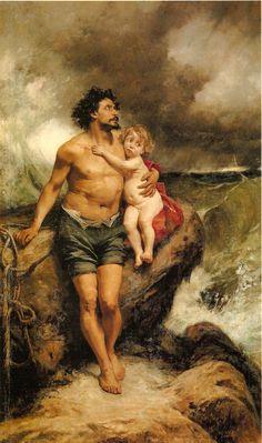 """Francisco Pradilla y Ortiz. Náufragos or """"Survivors of the Shipwreck"""" (1876). Oil on canvas. Madrid, Ayuntamiento."""