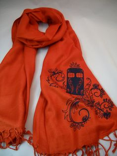 Henna Police Box Bright Red Pashmina Scarf ---love