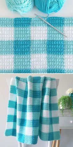Crochet 50014 Madeline used a free pattern for Crochet Teal Gingham Blanket to create her own vibrant blue version of this design. The stitches are nice and even, so this structural piece doesn't even need a border! Crochet Afghans, Motifs Afghans, Quick Crochet Blanket, Afghan Crochet Patterns, Crochet Stitches, Knitting Patterns, Crochet Blankets, Baby Blanket Knitting Pattern Free, Crochet Blanket Border