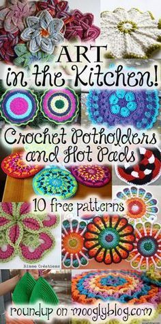 Perfect for anyone with a kitchen, crochet potholders and hot pads are a practical work of art! Here are 10 free patterns to make today! Crochet Kitchen, Crochet Home, Love Crochet, Crochet Gifts, Crochet Flowers, Crochet Coaster Pattern, Crochet Motif, Crochet Designs, Knit Crochet