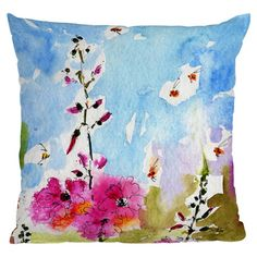 I'm thinking you could do this with fabric watercolors!! Bring a pop of style to your sofa or favorite arm chair with this chic pillow, showcasing a watercolor-inspired floral motif.   Product:...