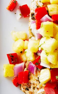Jerk Cod with Pineapple Salsa and Coconut Rice by bitememore #Cod #Pineapple #Coconut #Rice