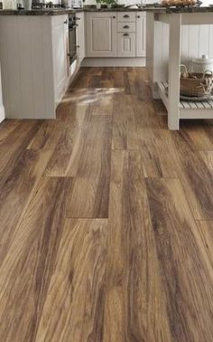 Howdens Professional Fast Fit V Groove Hickory Laminate Kitchen Styling, Best Kitchen Cabinets, Kitchen Flooring, Kitchen Fittings, Kitchen, Shaker Style Kitchens, Laminate Flooring In Kitchen, Shaker Kitchen, New Homes