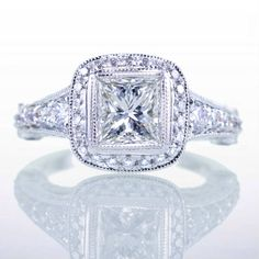 PRINCESS cut Pave Bezel Set diamond engagement wedding anniversary ring. $8,800.00, via Etsy.