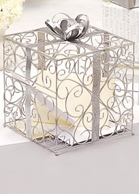 Our best selling Reception Gift Card Holders will keep all your wedding day wishes and gifts wrapped up in high style! Both fashionable and functional, these unique reception accessories will not only keep your gift table under control, but theyll keep it looking fabulous as well! It can easily be incorporated into any wedding day setting. These ornately structured card holders feature a scrolling vine pattern design and are topped with super chic gift bows! Facts and Features:  Measures 10 inches tallby 10 inches wide.  Materials: Contoured metal with an accompanying cardboard insert.