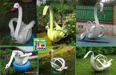 Foto: Reciclando pneus e fazendo lindos cisnes para enfeitar os jardins.  Conheça o blog do Fika a Dika http://beatriz13out.blogspot.com.br/