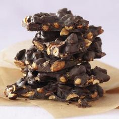Homemade Christmas Food Gifts - Pictured here is the Choco Almond Bark.  Many yummy treats to make!  - Good Housekeeping