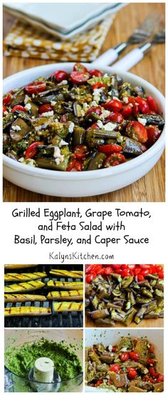 For years now I've been urging people to give grilled eggplant a chance, and it's recipes like this Grilled Eggplant, Grape Tomato, and Feta Salad with Basil, Parsley. and Caper Sauce that make me love it so much.  This will be a hit with eggplant fans at any summer party, and it might win over some eggplant avoiders too. #LowCarb #GlutenFree [from KalynsKitchen.com]