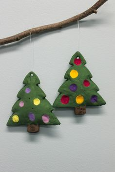 Salt dough Christmas tree ornaments idea - thumb print christmas bulbs!