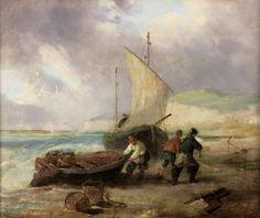 Coast Scene with Fishing Boats, by George Balmer (early 19th century Irish artist)