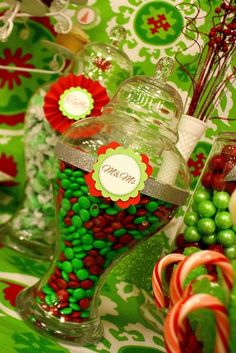 Candy Buffet Ideas ~ Sweets Table ~ Lime, Red, White, and Silver Christmas Party
