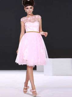 Cool Cheap Cocktail Dress A-line Capped Knee-length Pink Tulle Prom/Cocktail Dress PD223 Check more at http://24store.tk/fashion/cheap-cocktail-dress-a-line-capped-knee-length-pink-tulle-promcocktail-dress-pd223/