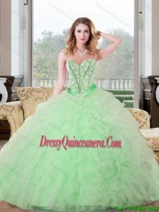 Vintage Beading and Ruffles Sweetheart 2015 Quinceanera Dresses in Apple Green