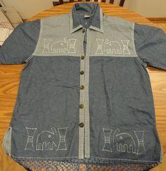 Women's Magic Potion SZ 2X Jean Jacket Shirt with Elephant Embroidery & Fringe  #MagicPotion #JeanJacket