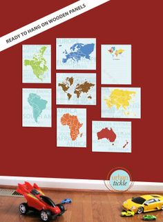 FRAMED World Map Art for Nursery, Continents, Set of Eight, 8X10 Inches, Playroom decor, Baby Gift, Nursery Decor, Educational gift