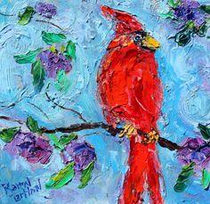 Original oil painting Spring Cardinal Bird by Karensfineart