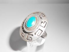 Sterling Poison Ring Turquoise Taxco Mexico Eagle #3 Nestor Adjustable