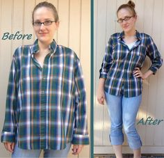 Plaid Shirt Refit  •  Free tutorial with pictures on how to make a shirt in under 60 minutes