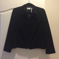 Black, zip up, shirt collar jacket Perfect condition, fully lined,  suit jacket.  Can be dressed up or down! Jackets & Coats Blazers