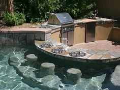 house with swim up bar design with outdoor kitchen : Awesome Swim Up Bar Design. home swimming pool bars,swim up bar ideas,swim up bar pools,swimming pool bar ideas,swimming pool bars Pool Bar, Pool With Bar, Backyard Patio, Backyard Landscaping, Backyard Ideas, Backyard Kitchen, Patio Ideas, Patio Bar, Landscaping Ideas