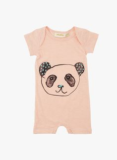 Soft Gallery Owen Panda Baby Romper in Peach  *PRE-ORDER:The estimated shipping date for this item is:03/01/2016. This item is available to pre-order.