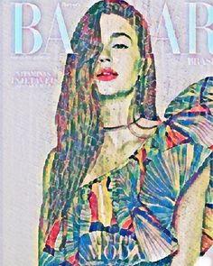 """Nossa capa de dezembro/ janeiro com @marinaruybarbosa ganha cores e magia com as artes de @patriciamagano. """"Chuva tropical vidro embaçado refletir as luzes da cidade"""" diz a artista sobre as inspirações dessa versão. Que tal? Foto @paulovainer/ Styling: @luisfiod / #bazaar6anosbrasil #arte #moda via HARPER'S BAZAAR BRAZIL MAGAZINE OFFICIAL INSTAGRAM - Fashion Campaigns  Haute Couture  Advertising  Editorial Photography  Magazine Cover Designs  Supermodels  Runway Models"""