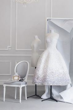 womens designer couture fashion: christian dior boutique interior made to order white strapless beaded evening bridal dress gown with miss dior perfume (mw)