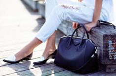 Black and white. Song Of Style, Chic Dress, White Pants, Casual Chic, Casual Outfits, Loafers, Stylish, Clothes, Shoes