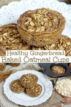 Gingerbread Baked Oatmeal Cups recipe - Healthy Holiday Breakfast idea. Healthy, easy, and a simple portable oatmeal recipe for kids, todder, and adults. Great for single serve or a family. Perfectly spiced with gingerbread spices like cinnamon, cloves and nutmeg. Vegetarian, Healthy, Clean Eating / Running in a Skirt #cleaneating #christmas #breakfast #recipe #healthyliving
