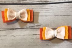 A personal favorite from my Etsy shop https://www.etsy.com/listing/562706025/candy-corn-felt-layer-bow-hair-clip