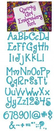Quirky Girl Embroidery Font Machine Embroidery Designs by Juju Monograms and Alphabets