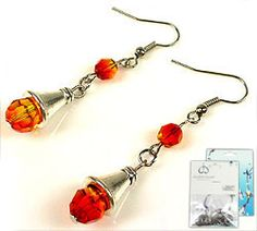 Bright orange DIY earrings! #DIY jewelry #DoubleBeads DIY jewelry kit