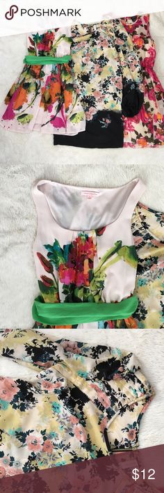 Floral Dress Bundle Margo & Sebastian (kohls) size small worn once with removable green sash, Long sleeve Xhilaration small Dress with zipper on back, Rue 21 Pink/Orange/Green Small Dress. All in Great condition! Like new. Dresses