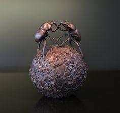 Hijacker - Bronze Sculpture of dung beetles by Bruce Little Bronze Sculpture, Beetles, Nature, Decor, Naturaleza, Decoration, Beetle, Nature Illustration, Decorating